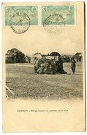 RC 14765 COTE DES SOMALIS 1911 PAIRE 5c MOSQUÉE OBL DJIBOUTI SUR CARTE POSTALE POUR LA FRANCE TB - Lettres & Documents