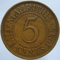 Mauritius 5 Cents 1945 VF - Mauricio