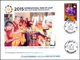 A LGERIA 2015 FDC Rare Cancellation International Year Of Light Lumière Luce Luz Tibet Buddhism Licht Lichtes Dalai Lama - Buddhism