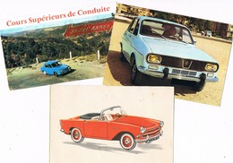 AUTO . R 8 RENAULT + R 16 RENAULT + Océane SIMCA .lot De 3 Cartes ( Voir Dos ) - Turismo