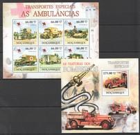 BC1247 2011 MOZAMBIQUE MOCAMBIQUE TRANSPORTES ESPECIAIS AS AMBULANCIAS BOMBEIROS 1SH+1BL MNH - Vrachtwagens