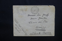 CÔTE DES SOMALIS - Enveloppe En FM De Djibouti Pour Annecy En 1942 Avec Cachet De Contrôle Postal - L 48780 - Lettres & Documents