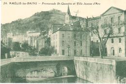 POSTAL    AMÉLIE LES BAINS  -FRANCIA  -PROMENADE ST. QUENTIN ET VILLE JEANNE D'ARC - Francia