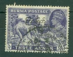 Burma: 1947   Interim Burmese Govt OVPT - KGVI   SG75    3a    Used - Birmanie (...-1947)