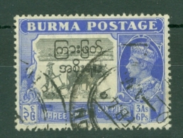 Burma: 1947   Interim Burmese Govt OVPT - KGVI   SG76    3a 6p   Used - Birmanie (...-1947)