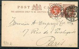 1893 GB Uprated Stationery Postcard, Hutton & Co. South Castle Street, Liverpool - Paris France - Storia Postale