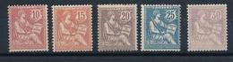 """DG-48: FRANCE: Lot  Avec Type """"MOUCHON  N°124/128**GNO - 1900-02 Mouchon"""
