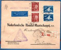 Dutch Indies 1940,23.8, 1st Manokwari-Soerabaja Airmail, Sealed Registered Business Makassar-Batavia - 1912.0216 - Netherlands Indies
