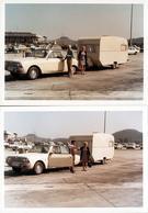 2 Photos Couleurs Amateur B.B. Originales - Vacances, Ford Taunus 17 M P5 Ou Ford Taunus 20 M P7 & Caravane Au Péage - Automobili