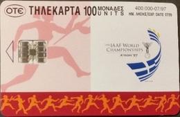 Telefonkarte Griechenland - 07/97 - Sport - Leichtathletik  - Aufl. 400000 - Griechenland