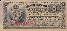 BILLETE DEL BANCO ESPAÑOL EN CUBA DE 5 CENTAVOS DEL AÑO 1872 (BANKNOTE) - Cuba