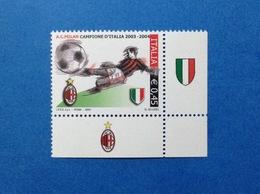 2004 ITALIA FRANCOBOLLO NUOVO STAMP NEW MNH** CALCIO SCUDETTO MILAN CAMPIONE CON APPENDICE ANGOLO DX - 6. 1946-.. Repubblica
