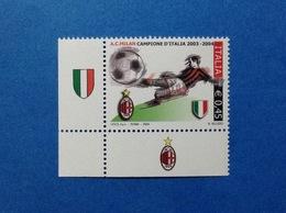 2004 ITALIA FRANCOBOLLO NUOVO STAMP NEW MNH** CALCIO SCUDETTO MILAN CAMPIONE CON APPENDICE ANGOLO SX - 6. 1946-.. Repubblica