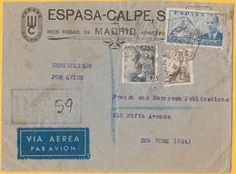 1941EspañaCensorado Certificado Por Avion Cover To N.Y. USA, 3 Stamps, 6 Postmarks - Aéreo
