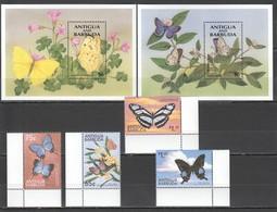 D469 ANTIGUA & BARBUDA FLORA & FAUNA FLOWERS & BUTTERFLIES 1SET+2BL MNH - Schmetterlinge