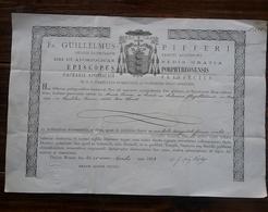 Guillelmus Pifféri ,Evêque De Porphyre - Ordre De St Augustin - 1899 - Document En Latin à Découvrir . - Religion & Esotericism