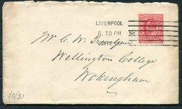 1906 GB Liverpool Columbia Machine Cancel Cover - Wellington College, Wokingham. - 1902-1951 (Kings)