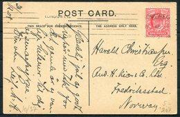 GB Horseguards Whitehall Postcard - Norway. London EC Machine Cancel - 1902-1951 (Kings)