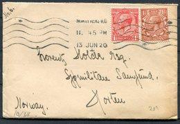 1920 GB North Kensington, London Machine Cancel Cover - Horten Norway - 1902-1951 (Kings)