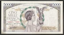 Rare 5000 Francs Victoire 8.12.1938 - 1871-1952 Frühe Francs Des 20. Jh.