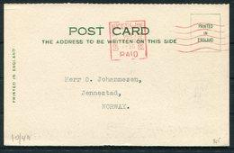 1930 GB Levinson, Fish Merchant, Lombard Street, Newcastle Postcard - Jennestad Norway. Krag Machine Cancel - 1902-1951 (Kings)