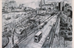 'View From Lambeth Palace', London - Drawing By Tobias Till - Posted From Sydney To Quennsland With Queen Stamp - London