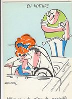 Illustrateur LASSALVY - EN VOITURE - Méfiez-vous Du Retour De Manivelle... (ciel Couleur Bleu) CP Sans N° - Lassalvy