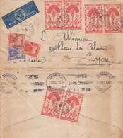 LETTRE. MADAGASCAR. 1947.  TANANARIVE POUR LYON. PAR AVION. 9Fr TAXE GERBE 17Fr   / 2 - Madagascar (1889-1960)