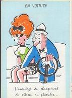 Illustrateur LASSALVY - EN VOITURE - L'avantage Du Changement De Vitesse Plancher... (ciel Couleur Bleu) CP Sans N° - Lassalvy