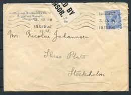 1914 GB Boutcher Mortimore & Co. Leather Market, London Censor Cover - Stockholm Sweden - 1902-1951 (Kings)
