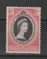 Nouvelle Hébrides Légende Française 1953 Couronnement Elisabeth II 166 ** MNH - Leyenda Francesa