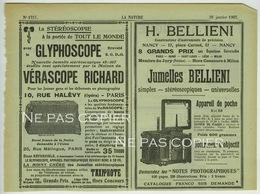 VÉRASCOPE BELLIENI CARPENTIER Publicités Journal La Nature 1907 - Appareils Photo