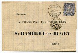RC 14782 SUISSE 1870 - 30c SUR LETTRE DE GENEVE / SUCC-RIVE POUR ST RAMBERT EN BUGEY (AIN) FRANCE TB - 1862-1881 Sitted Helvetia (perforates)