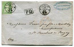 RC 14783 SUISSE 1861 - 40Rp SUR LETTRE DE GENEVE POUR ST RAMBERT EN BUGEY (AIN) FRANCE TB - Storia Postale