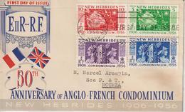 Nouvelle Hébrides Légende Anglaise 1956 Cinquantenaire 171-174 4 Val FDC Voyagé Pour La Nouvelle Calédonie - English Legend