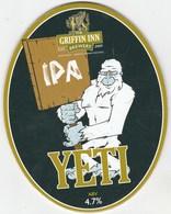 GRIFFIN INN BREWERY  (SHUSTOKE, ENGLAND) - YETI IPA - PUMP CLIP FRONT - Letreros