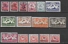 DANTZIG (DANZIG) 1920-1923 - Poste Aérienne - 15 Tbs Dont 2 Séries Complètes ** Cote YT : 30 Euros - Autres - Europe