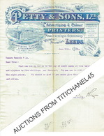 Letter 1895 LEEDS - PETTY & SONS Ltd - Advertising Experts And Lithographers For Every Trade - Manufacturing Station - Royaume-Uni