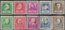 US  1940 Sc#864-73 Writers & Educators  Sets  MNH  2016 Scott Value $6.50 - Unused Stamps