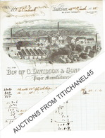 1885 LONDON Very Nice Invoice With Lithograph  - Bot. Of C. DAVIDSON & Sons Ltd - Paper Manufacturers - Royaume-Uni