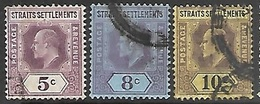 Malaya Straits Settlements   1902  Sc#96-8  5c/8c/10c Edwards  Used     2016 Scott Value $3.90 - Straits Settlements