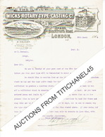 Letter 1904 LONDON - WILLESDEN - The WICKS ROTARY TYPE-CASTING C° - Manufacture Machine For Compositing Typography - Royaume-Uni