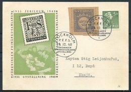 1940 Sweden Svarsmarke Faltpost Postcard. Stockholm P.F.F.S. Philatelic Exhibition - Military