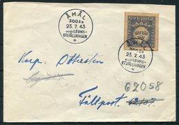 1943 Sweden Svarsmarke Faltpost Cover. Amal 300th Anniversary, Jubilee Exhibition Uddevalla - Military