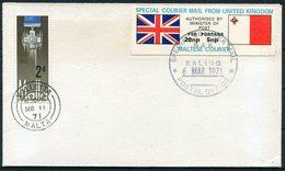 1971 Malta GB Postal Strike Special Courier Cover. Valletta Ealing - Malta