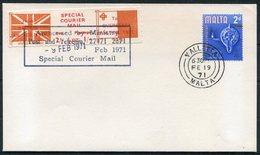 1971 Malta GB Postal Strike Special Courier Cover. Valletta - Malta