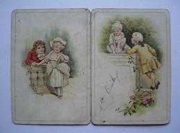 MENU 22 NOVEMBRE 1890 - Chromos Enfants - éventail - Roses - LEOGNANY Restaurateur à CLAIROIX ( OISE) - Menus