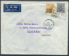 1937 India Airmail Cover Karachi - Vienna Austria Via Athens Greece - India (...-1947)