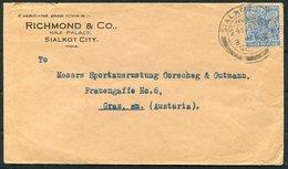 KG5 India Richmond & Co. Haji Palace, Siakot City Cover - Graz Austria - India (...-1947)