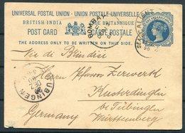 1890 India Stationery Postcard Calicut - Tubingen Germany Via Bombay, Sea Post Office - India (...-1947)